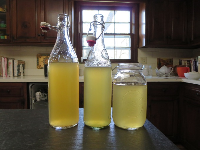 After the first fermentation, I strained the grains and poured the liquid into jars.