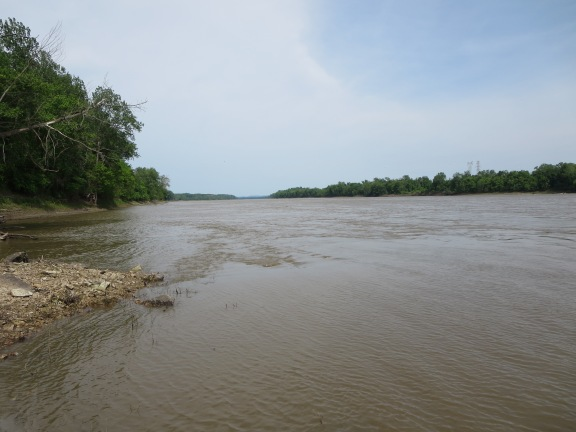 The muddy Missouri. The trail follows the river almost the whole way.