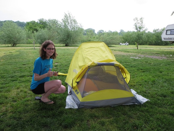 And put up our awesome yellow tent.