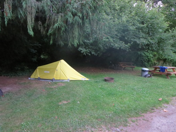 My beautiful yellow tent at a campground in Canada.